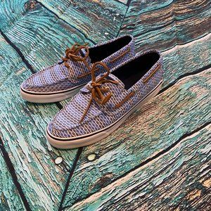NEW Sperry Bahama Fish Print 2 Eye Boat Shoes 9